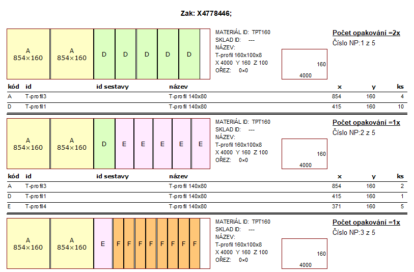 Delková optimalizace Spinar software DAEX 1 - DAEX CUT Optimalizátor 21