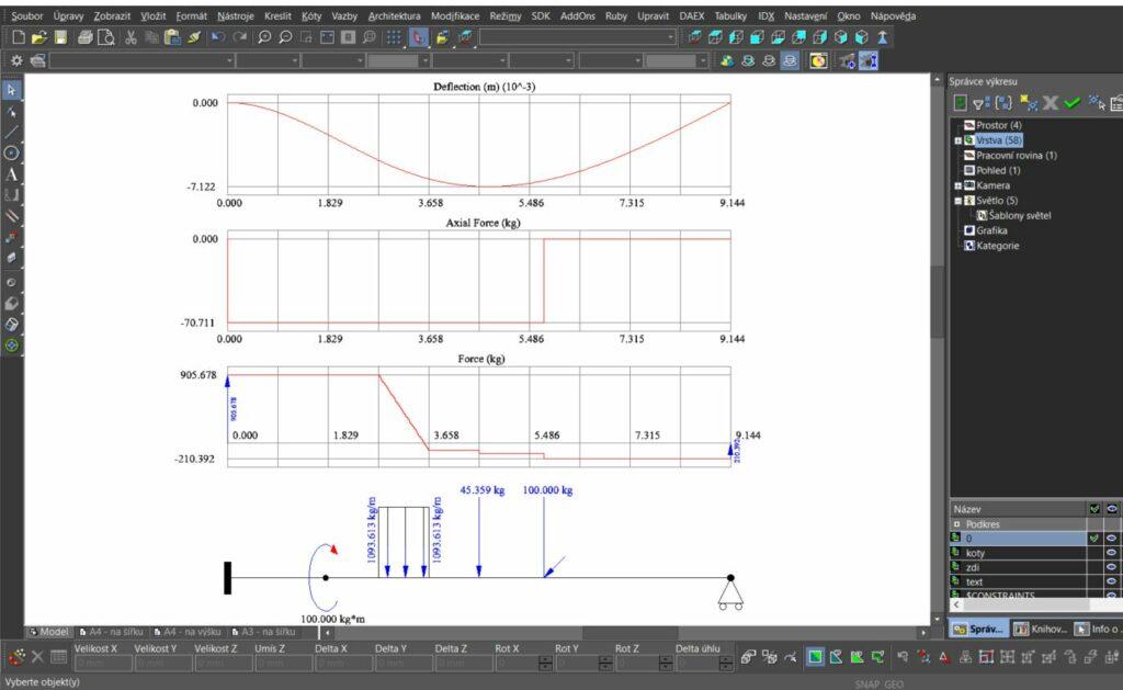 TurboCAD BAEM Analysis 2 1024x629 - IDX BEAM Analysis - statika nosníků