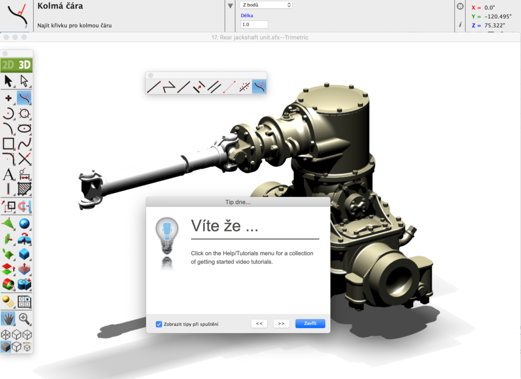 ViaCAD Spinar software Model1 1 1024x745 - SharkCAD Pro v12 CZ