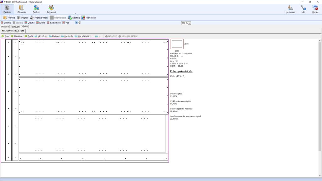 Ukázka optimalizace nářezového plánu včetně obrábění