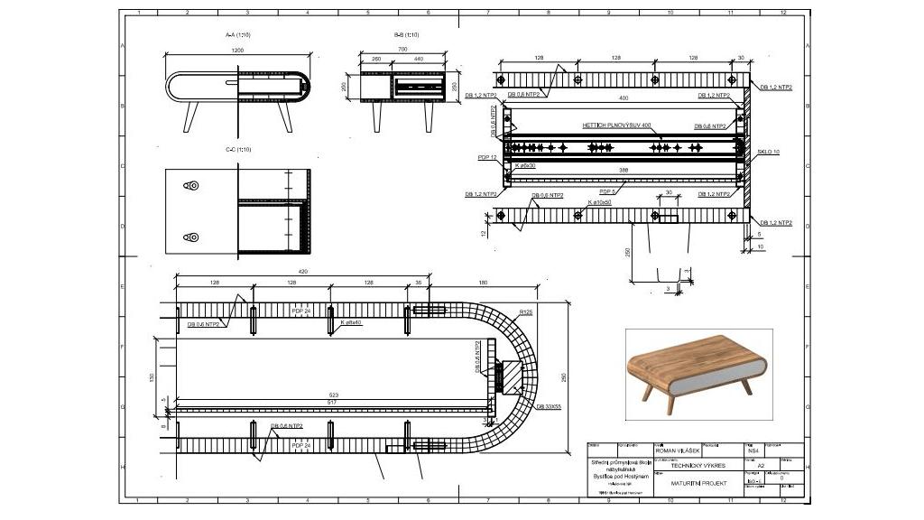 Výrobní výkres zpracován studentyDAEX DESIGN / TurboCAD